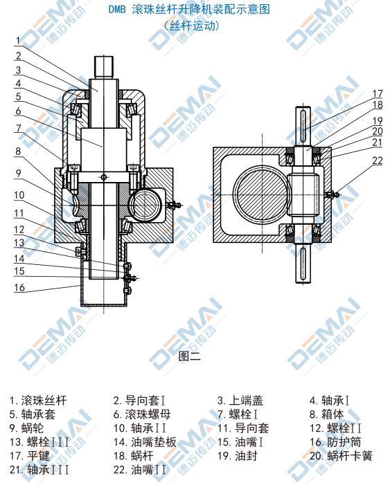 德邁傳動dm系列絲桿升降機產品結構圖